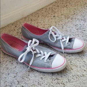 Grey Converse with Pink Stripe